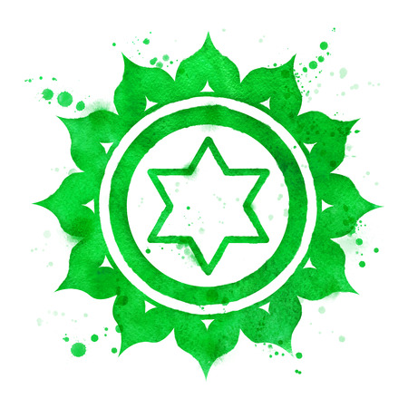Watercolor illustration of Anahata chakra symbol with paint splashes.