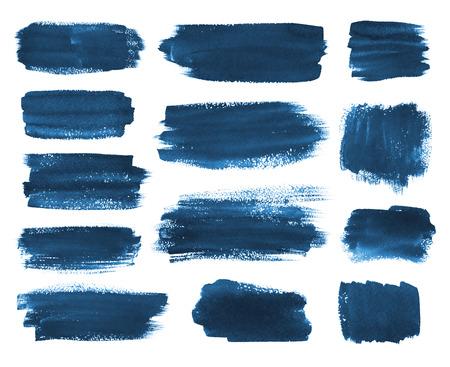 Hand getekende aquarel donker blauw borstel stookt banners collectie.