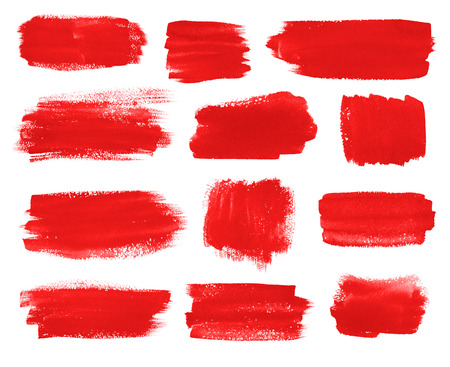 collection red: Hand drawn watercolor red brush stokes banners collection.
