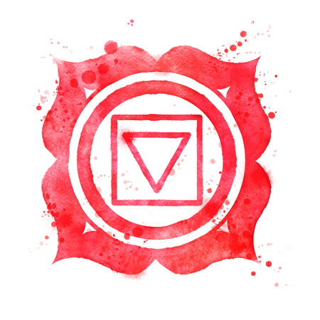 Watercolor illustration of Muladhara chakra symbol with paint splashes.