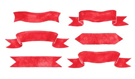 scroll: Hand drawn watercolor red vintage scroll banners. Stock Photo