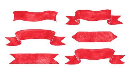 schriftrolle: Hand gezeichnet Aquarell rote Vintage Scroll Banner.