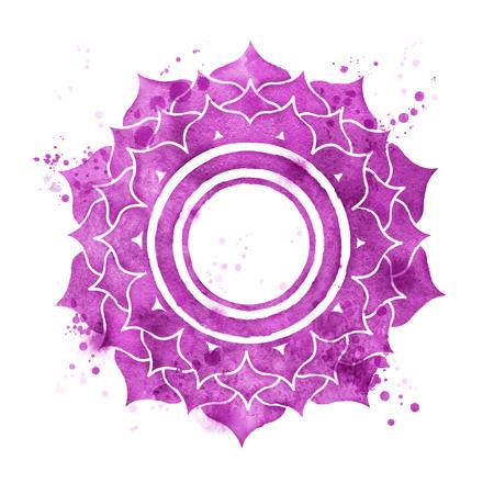 Watercolor illustration of Sahasrara chakra symbol with paint splashes.