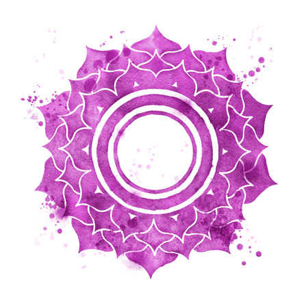 Watercolor illustration of Sahasrara chakra symbol with paint splashes.