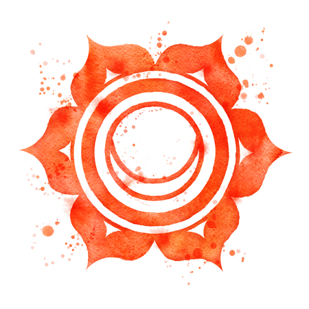 Watercolor illustration of Svadhisthana chakra symbol with paint splashes.