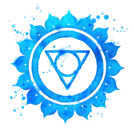 Watercolor illustration of Vishuddha chakra symbol with paint splashes.