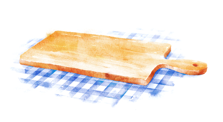 Watercolor hand drawn illustration of kitchen cutting board on blue checkered tablecloth. Stock Photo