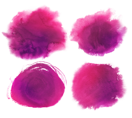 Hand drawn purple watercolor stains collection. Standard-Bild