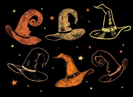 brujas caricatura: recogida de la cosecha de dibujos de color tiza de sombreros de brujas.