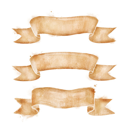 Hand drawn watercolor vintage scroll old paper banners set with paint smears. Archivio Fotografico