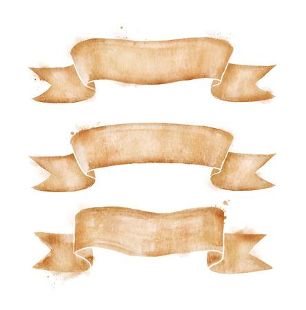 Hand getekende aquarel vintage schuif oud papier spandoeken met verf uitstrijkjes. Stockfoto