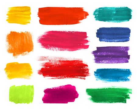 Kleur hand getekende aquarel penseelstroken banners collectie. Stockfoto