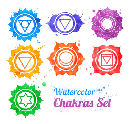 sahasrara: Hand drawn watercolor collection of chakra symbols with paint splashes. Stock Photo