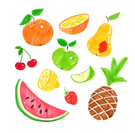 felt: Felt pen collection of childlike drawings of fruit.