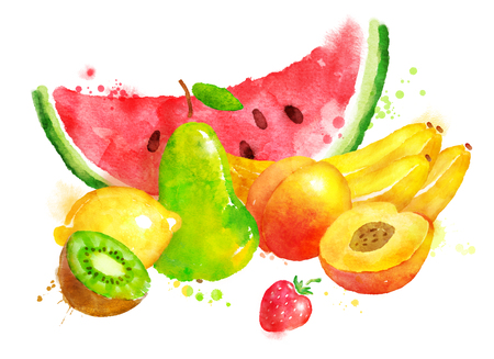 手には、塗料の飛散と果物のある静物の水彩画のイラストが描かれました。