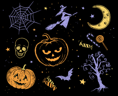 orange color: Collection of color yellow, blue and orange chalk Halloween drawings.