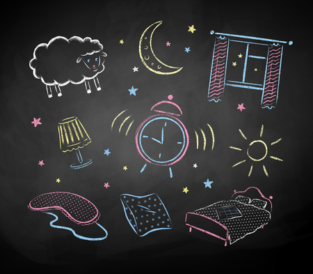 night school: Bedtime color chalked hand drawn vector sketches on black chalkboard background.