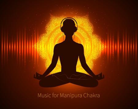 Silhouet van de mens mediteren, muziek luisteren met een hoofdtelefoon op de achtergrond met gloeiende Manipura chakra ondertekenen en equalizer. Stock Illustratie