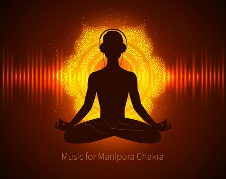 Man silhouette meditating, listening music  with headphones on background with glowing Manipura chakra sign and equalizer.