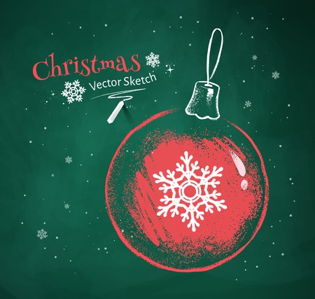 green chalkboard: Red and white chalk vector sketch of Christmas ball with snowflake on green chalkboard background.