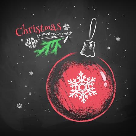pelota: Color tiza dibujo vectorial de la bola roja de Navidad con copos de nieve sobre fondo negro pizarra.