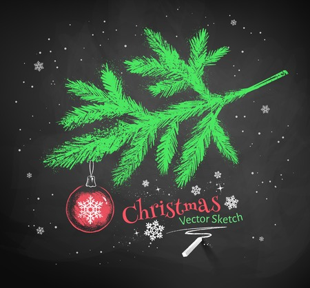 blackboard background: Color chalk vector sketch of Christmas tree fir branch decorated with red ball on black chalkboard background.