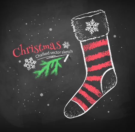 blackboard cartoon: Color red and white chalk drawing of striped Christmas sock on black chalkboard background.