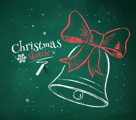 green chalkboard: Red and white chalk vector sketch of Christmas Bell on green chalkboard background.