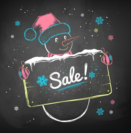 give away: Color chalk vector sketch of Snowman with sale signboard on black chalkboard background.