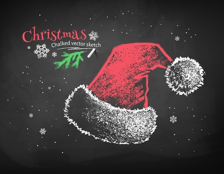 wearing santa hat: Color chalk vector sketch of red Santa Claus hat on black chalkboard background.