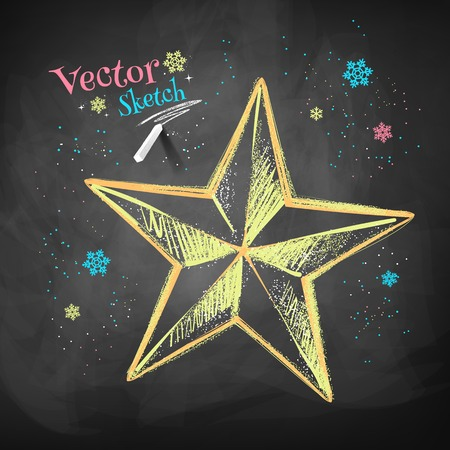 stars: Color chalk vector sketch of Christmas star on black chalkboard background.