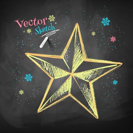 lucero: Color tiza dibujo vectorial de la estrella de la Navidad en fondo negro pizarra.