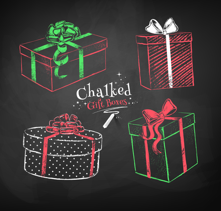 Red, white and green color chalk vector sketches of gift boxes on black chalkboard background.