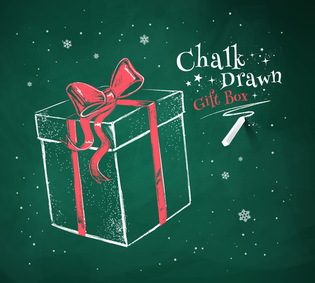 Chalk vector sketch of gift box on green chalkboard background. Vectores