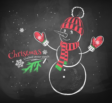 Color red and white chalk drawing of cute snowman wearing knitted hat, scarf and mittens on black chalkboard background. Иллюстрация