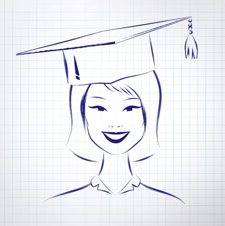 asian student: Asian student girl wearing graduation hat. Vector hand drawn sketch on notebook background. Illustration