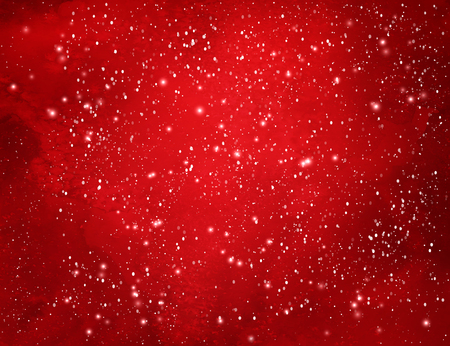 Red Christmas watercolor grunge background with falling snow and light sparkles.