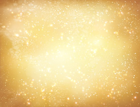 Gold shiny watercolor grunge background with falling snow and light sparkles.