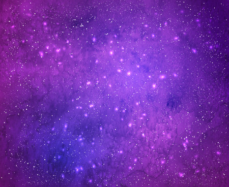 Violet watercolor grunge background with falling snow and light sparkles.