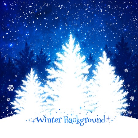 Christmas trees blue and white background with falling snow and spruce forest silhouette.