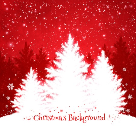 jungle scene: Christmas trees red and white background with falling snow and spruce forest silhouette.