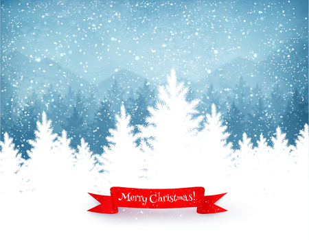 blue vintage background: Winter landscape background with falling snow, spruce forest silhouette and red ribbon banner.