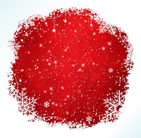 schneeflocke: Rote und wei�e Grunge Aquarell Weihnachten Rahmen mit Schneeflocken und Schneefall. Illustration