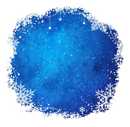 snowflakes: Dark blue and white grunge watercolor Christmas frame with snowflakes and falling snow.