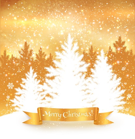 falling snow: Christmas trees gold color background with falling snow, ribbon banner and spruce forest silhouette.