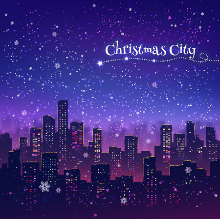 Night cityscape Christmas background with falling snow, and lights.