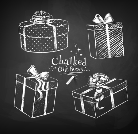 present: Chalk vector sketches of gift boxes on black chalkboard background.