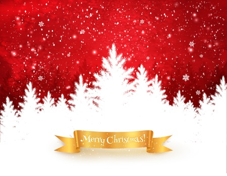 Red and white Christmas trees landscape background with falling snow, spruce forest silhouette and gold ribbon banner.