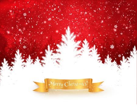 Rode en witte kerst bomen landschap achtergrond met vallende sneeuw, sparren bos silhouet en gouden lint banner.