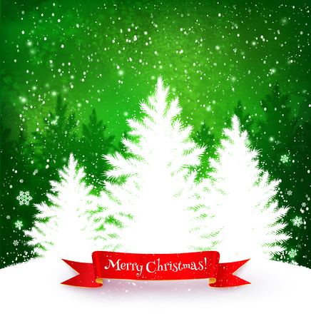 jungle scene: Christmas trees green and white background with falling snow, red ribbon banner and spruce forest silhouette.